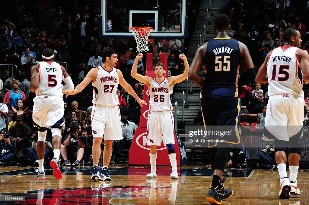 <a gi-track='captionPersonalityLinkClicked' href=/galleries/search?phrase=Kyle+Korver&family=editorial&specificpeople=202504 ng-click='$event.stopPropagation()'>Kyle Korver</a> #26 of the Atlanta Hawks gets excited after an easy bucket vs the Indiana Pacers at Philips Arena on November 7, 2012 in Atlanta, Georgia.