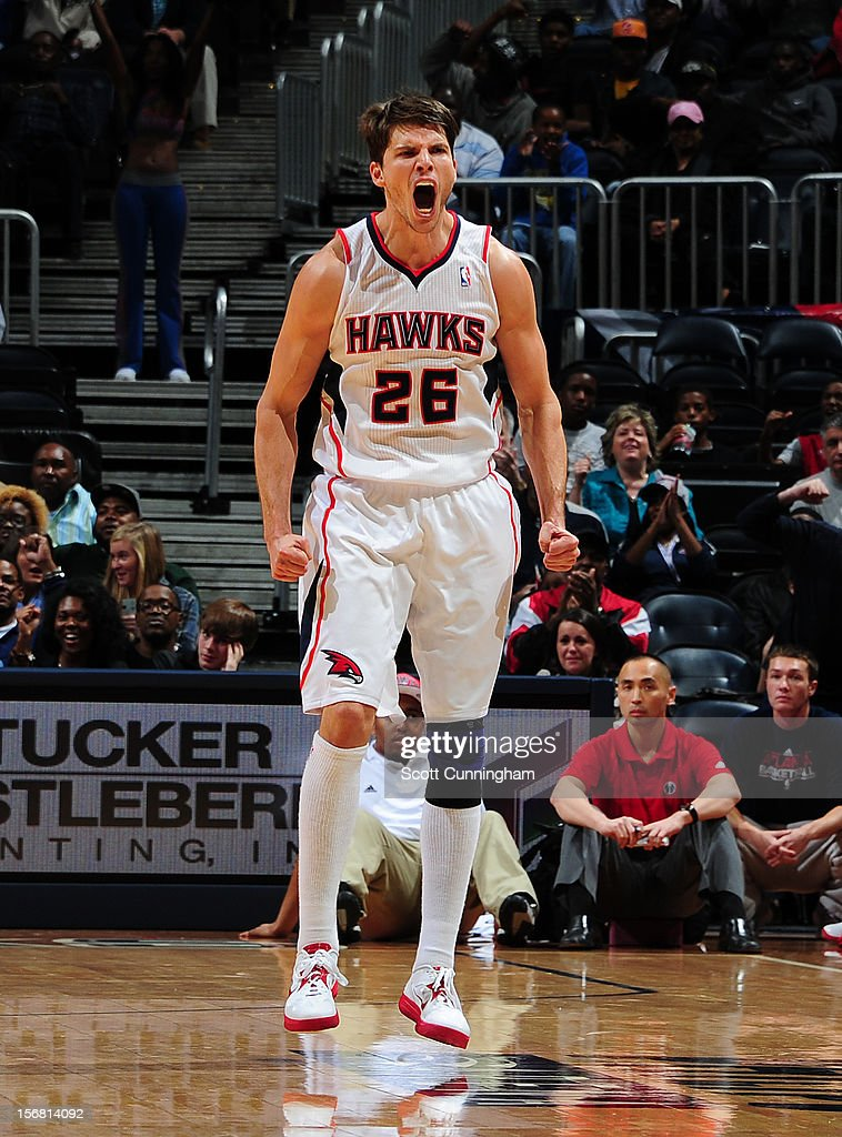 Kyle Korver #26 of the Atlanta Hawks gets excited after hitting the game winning shot against the Washington Wizards at Philips Arena on November 21, 2012 in Atlanta, Georgia.