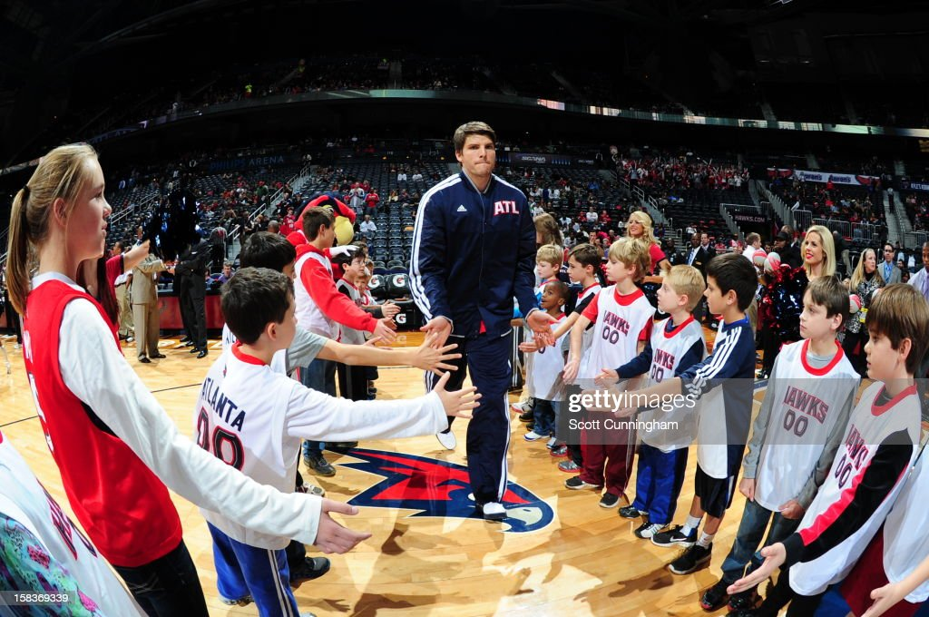 Kyle Korver #26 of the Atlanta Hawks gets introduced before the game against the Charlotte Bobcats at Philips Arena on December 13 ,2012 in Atlanta, Georgia.