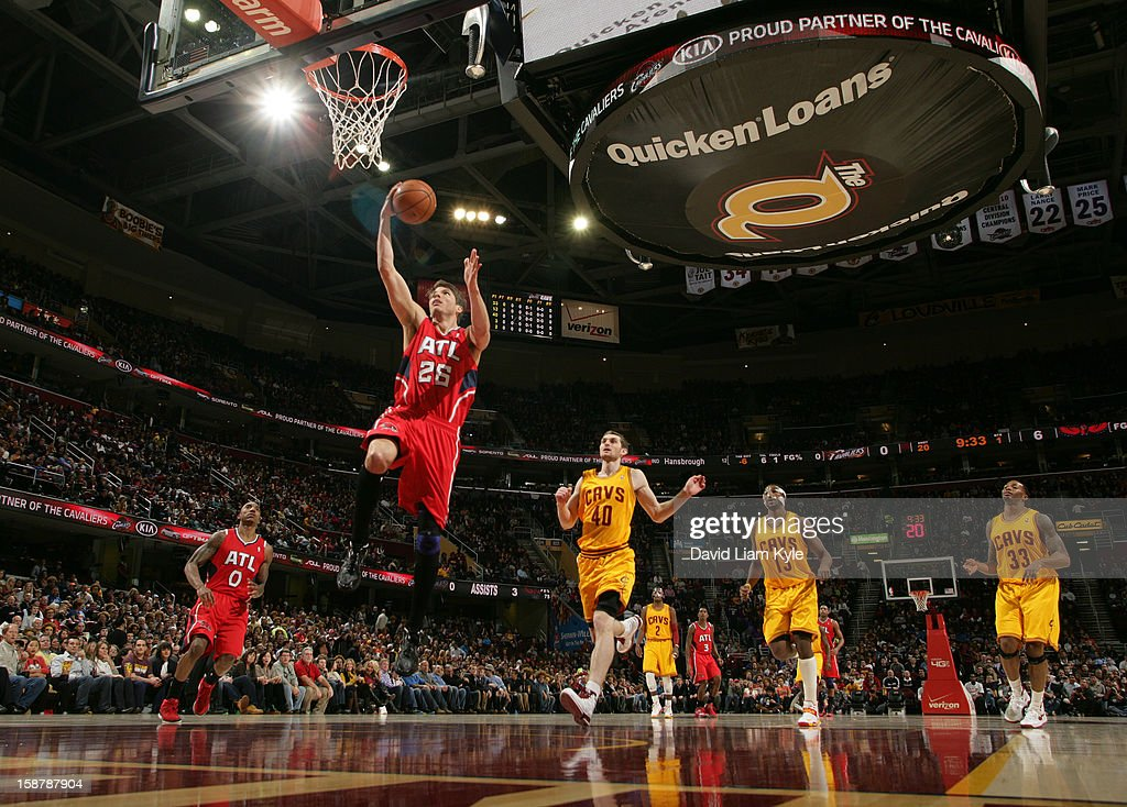 Kyle Korver #26 of the Atlanta Hawks goes up for the fast break shot against the Cleveland Cavaliers at The Quicken Loans Arena on December 28, 2012 in Cleveland, Ohio.