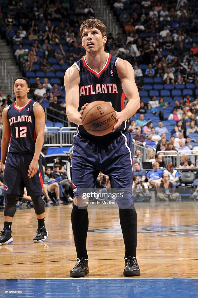 Kyle Korver #26 of the Atlanta Hawks shoots a foul shot against the Orlando Magic during the game on February 13, 2013 at Amway Center in Orlando, Florida.