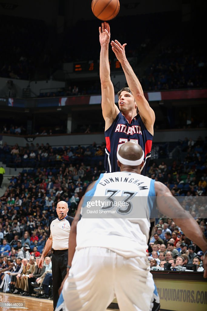 Kyle Korver #26 of the Atlanta Hawks shoots a three point shot against the Minnesota Timberwolves during the game on January 8, 2013 at Target Center in Minneapolis, Minnesota.