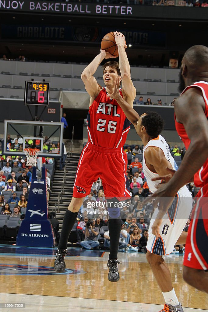 Kyle Korver #26 of the Atlanta Hawks shoots against the Charlotte Bobcats at the Time Warner Cable Arena on January 23, 2013 in Charlotte, North Carolina.