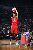 Kyle Korver of the Atlanta Hawks shoots during the Foot Locker Three Point Contest on State Farm AllStar Saturday Night as part of the 2015 NBA...