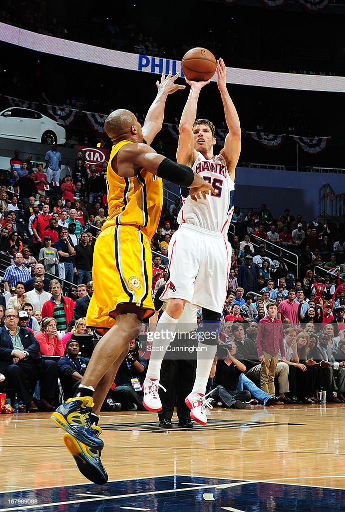 Kyle Korver #26 of the Atlanta Hawks shoots the ball against the Indiana Pacers during Game Six of the Eastern Conference Quarterfinals in the 2013 NBA Playoffs on May 3, 2013 at Philips Arena in Atlanta, Georgia.