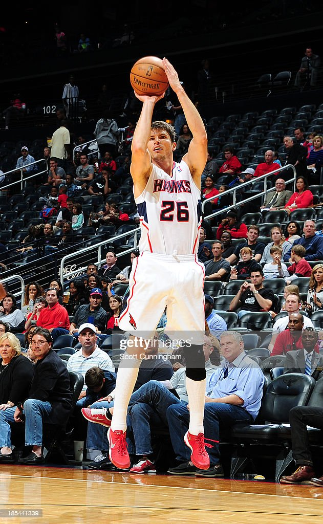<a gi-track='captionPersonalityLinkClicked' href=/galleries/search?phrase=Kyle+Korver&family=editorial&specificpeople=202504 ng-click='$event.stopPropagation()'>Kyle Korver</a> #26 of the Atlanta Hawks shoots the ball against the Memphis Grizzlies on October 20, 2013 at Philips Arena in Atlanta, Georgia.