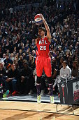 Kyle Korver of the Atlanta Hawks shoots the ball during the Foot Locker Three Point Contest on State Farm AllStar Saturday Night as part of the 2015...