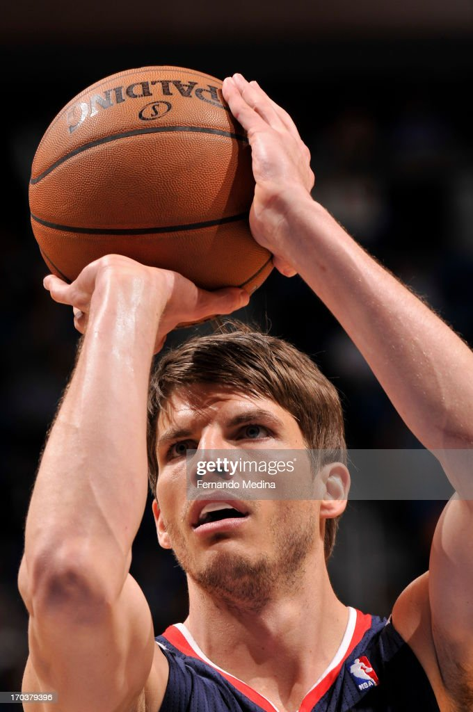 Kyle Korver #26 of the Atlanta Hawks takes a free throw against the Orlando Magic on February 13, 2013 at Amway Center in Orlando, Florida.