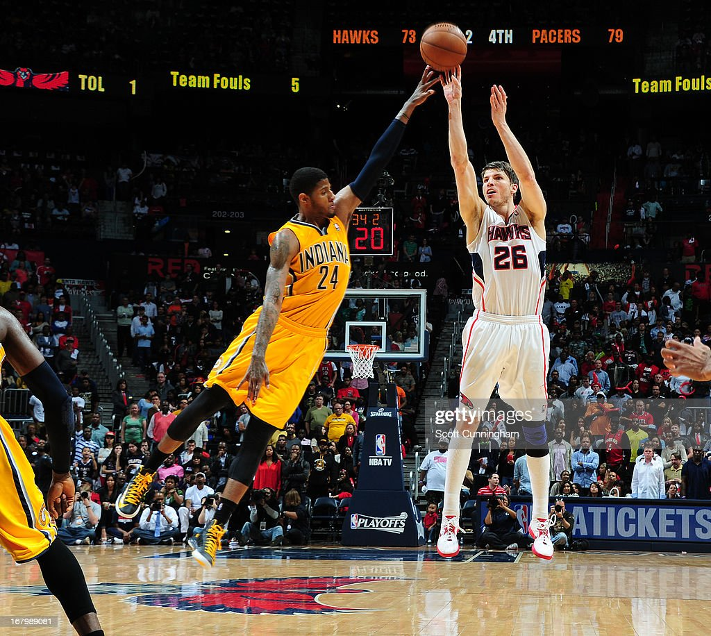Kyle Korver #26 of the Atlanta Hawks takes a shot against the Indiana Pacers during Game Six of the Eastern Conference Quarterfinals in the 2013 NBA Playoffs on May 3, 2013 at Philips Arena in Atlanta, Georgia.