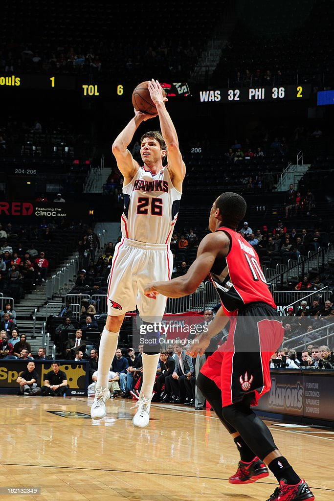 <a gi-track='captionPersonalityLinkClicked' href=/galleries/search?phrase=Kyle+Korver&family=editorial&specificpeople=202504 ng-click='$event.stopPropagation()'>Kyle Korver</a> #26 of the Atlanta Hawks takes a shot against the Toronto Raptors on January 30, 2013 at Philips Arena in Atlanta, Georgia.