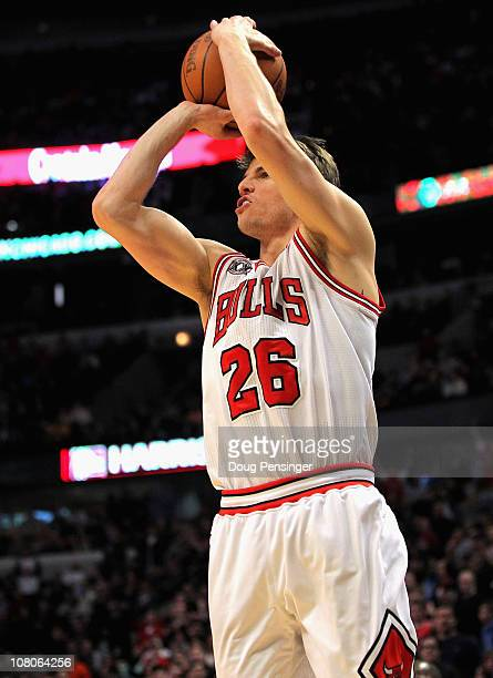 Kyle Korver of the Chicago Bulls sinks the game winning three point shot with 25 seconds remaining in the game against the Miami Heat at the United...