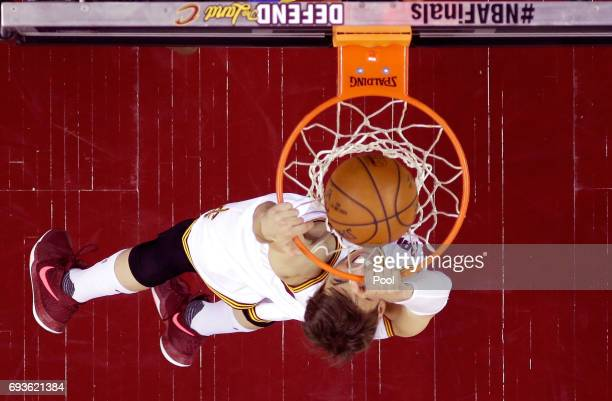Kyle Korver of the Cleveland Cavaliers dunks in the first half against the Golden State Warriors in Game 3 of the 2017 NBA Finals at Quicken Loans...