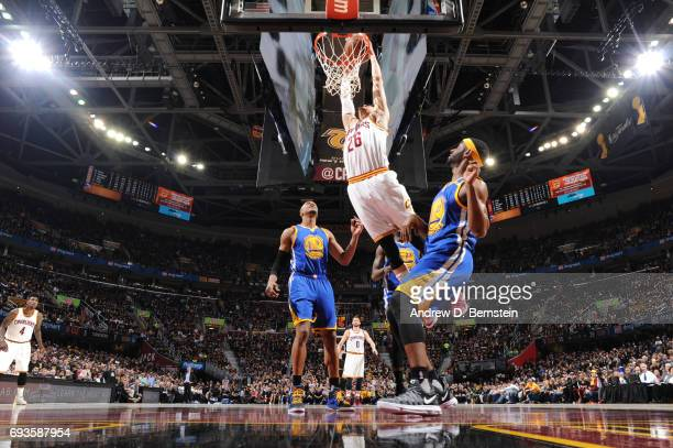 Kyle Korver of the Cleveland Cavaliers dunks the ball against the Golden State Warriors in Game Three of the 2017 NBA Finals on June 7 2017 at...