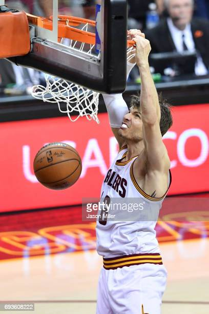 Kyle Korver of the Cleveland Cavaliers dunks the ball against the Golden State Warriors during the first half of Game 3 of the 2017 NBA Finals at...
