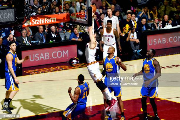 Kyle Korver of the Cleveland Cavaliers dunks the ball during the game against the Golden State Warriors in Game Three of the 2017 NBA Finals on June...