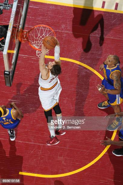 Kyle Korver of the Cleveland Cavaliers goes up for a dunk against the Golden State Warriors in Game Three of the 2017 NBA Finals on June 7 2017 at...