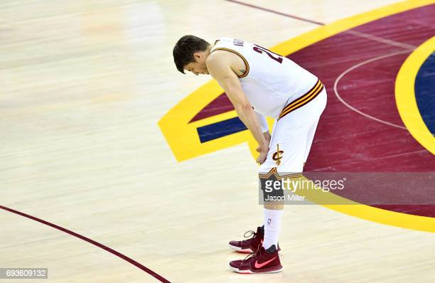 Kyle Korver of the Cleveland Cavaliers looks on in the second half against the Golden State Warriors in Game 3 of the 2017 NBA Finals at Quicken...