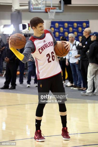 Kyle Korver of the Cleveland Cavaliers passes the ball during practice and media availability as part of the 2017 NBA Finals on June 11 2017 at...