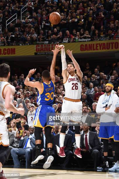 Kyle Korver of the Cleveland Cavaliers shoots the ball against the Golden State Warriors in Game Three of the 2017 NBA Finals on June 7 2017 at...