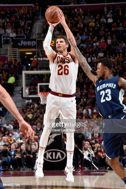 Kyle Korver of the Cleveland Cavaliers shoots the ball against the Memphis Grizzlies on December 2 2017 at Quicken Loans Arena in Cleveland Ohio NOTE...