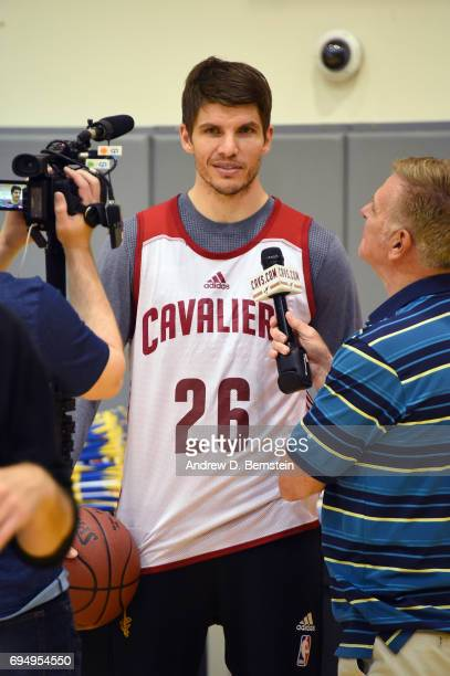 Kyle Korver of the Cleveland Cavaliers talks to the media at media availability as part of the 2017 NBA Finals on June 11 2017 at Warriors Practice...