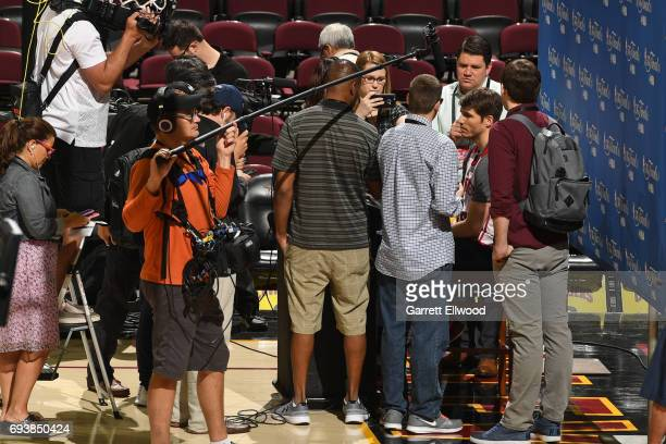 Kyle Korver of the Cleveland Cavaliers talks to the media during practice and media availability as part of the 2017 NBA Finals on June 08 2017 at...