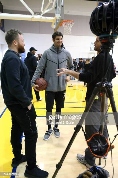 Kyle Korver of the Cleveland Cavaliers talks to the media in VR during media availability as part of the 2017 NBA Finals on June 11 2017 at Warriors...
