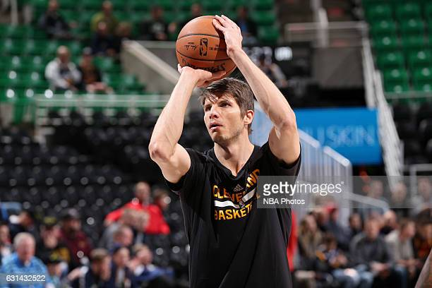 Kyle Korver of the Cleveland Cavaliers warms up before the game against the Utah Jazz on January 10 2017 at vivintSmartHome Arena in Salt Lake City...