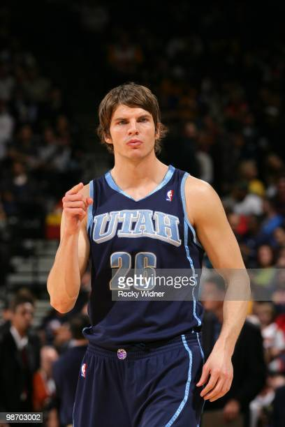 Kyle Korver of the Utah Jazz looks on during the game against the Golden State Warriors at Oracle Arena on April 13 2010 in Oakland California The...