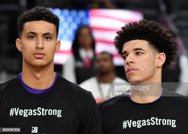 Kyle Kuzma and Lonzo Ball of the Los Angeles Lakers wear #VegasStrong Tshirts during a moment of silence held to honor victims of last Sunday's mass...
