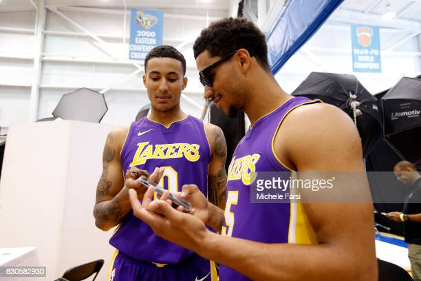 Kyle Kuzma and Josh Hart of the Los Angeles Lakers behind the scenes during the 2017 NBA Rookie Photo Shoot at MSG training center on August 11 2017...