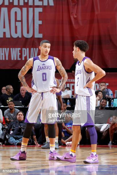 Kyle Kuzma and Lonzo Ball of the Los Angeles Lakers talk during the 2017 Las Vegas Summer League game against the against the Philadelphia 76ers on...