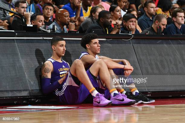 Kyle Kuzma and Lonzo Ball of the Los Angeles Lakers wait to get in the 2017 NBA Las Vegas Summer League game against the Cleveland Cavaliers on July...