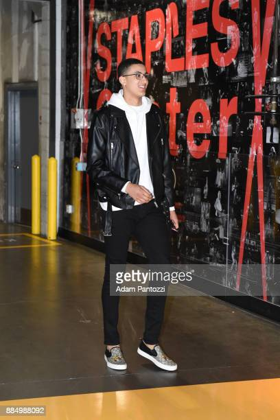 Kyle Kuzma of the Los Angeles Lakers arrives at the stadium before the game against Houston Rockets on December 3 2017 at STAPLES Center in Los...