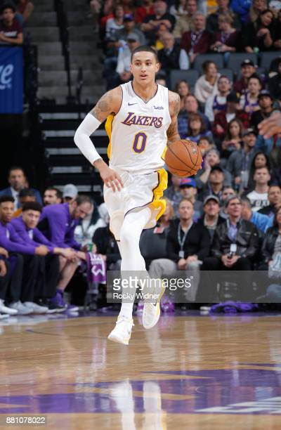 Kyle Kuzma of the Los Angeles Lakers brings the ball up the court against the Sacramento Kings on November 22 2017 at Golden 1 Center in Sacramento...