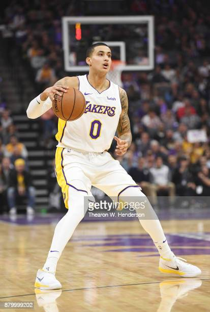 Kyle Kuzma of the Los Angeles Lakers dribbles the ball against the Sacramento Kings during their NBA basketball game at Golden 1 Center on November...
