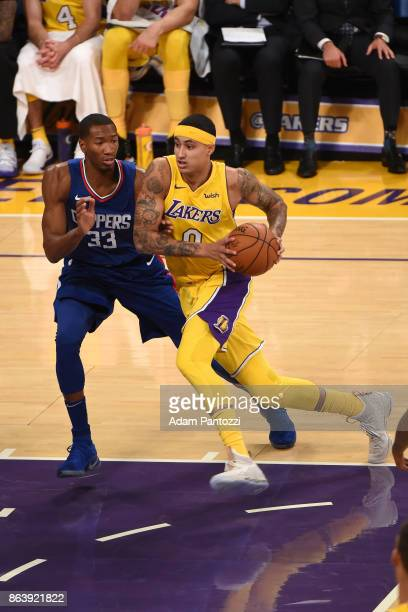 Kyle Kuzma of the Los Angeles Lakers drives to the basket against the LA Clippers on October 19 2017 at STAPLES Center in Los Angeles California NOTE...
