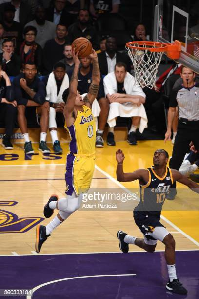 Kyle Kuzma of the Los Angeles Lakers drives to the basket during the preseason game against the Utah Jazz on October 10 2017 at STAPLES Center in Los...