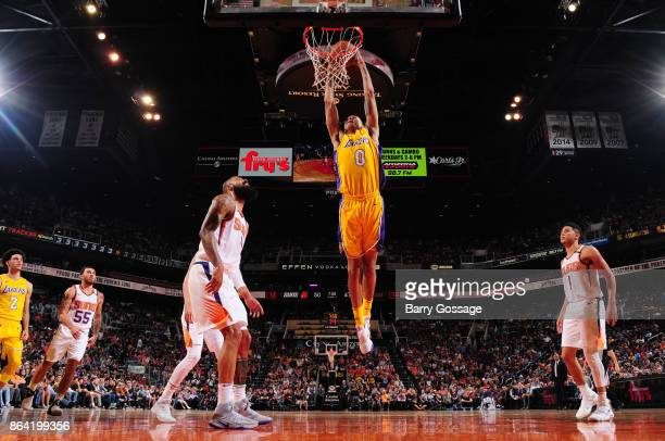 Kyle Kuzma of the Los Angeles Lakers dunks against the Phoenix Suns on October 20 2017 at Talking Stick Resort Arena in Phoenix Arizona NOTE TO USER...
