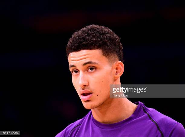 Kyle Kuzma of the Los Angeles Lakers during warm up before the game against the Utah Jazz at Staples Center on October 10 2017 in Los Angeles...