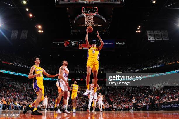 Kyle Kuzma of the Los Angeles Lakers goes to the basket against the Phoenix Suns on October 20 2017 at Talking Stick Resort Arena in Phoenix Arizona...
