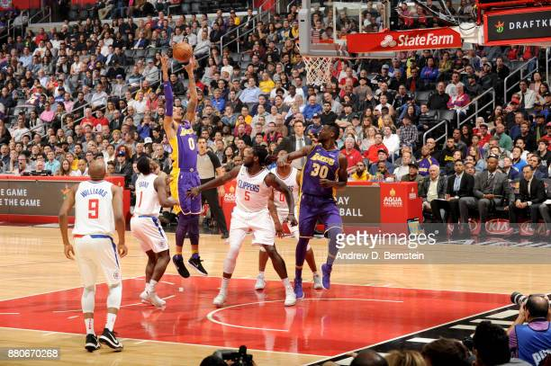 Kyle Kuzma of the Los Angeles Lakers grabs the rebound against the LA Clippers on November 27 2017 at STAPLES Center in Los Angeles California NOTE...