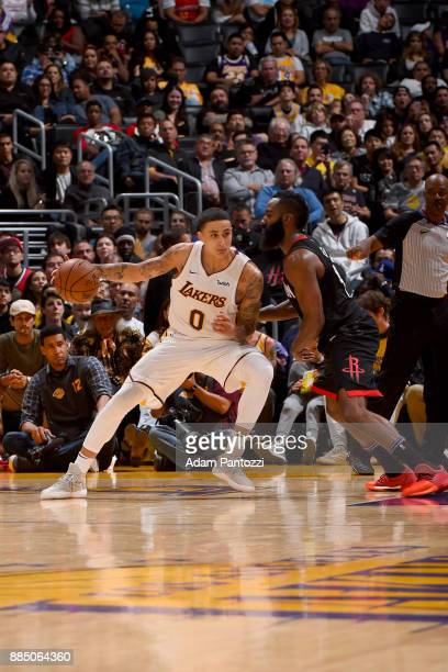 Kyle Kuzma of the Los Angeles Lakers handles the ball against the Los Angeles Lakers on December 3 2017 at STAPLES Center in Los Angeles California...