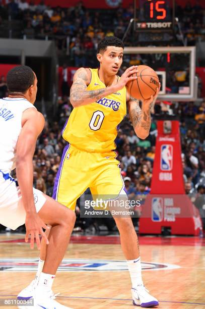 Kyle Kuzma of the Los Angeles Lakers handles the ball against the LA Clippers on October 13 2017 at STAPLES Center in Los Angeles California NOTE TO...