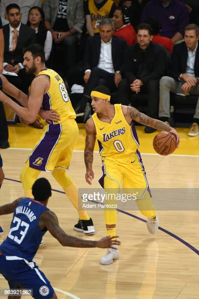 Kyle Kuzma of the Los Angeles Lakers handles the ball against the LA Clippers on October 19 2017 at STAPLES Center in Los Angeles California NOTE TO...