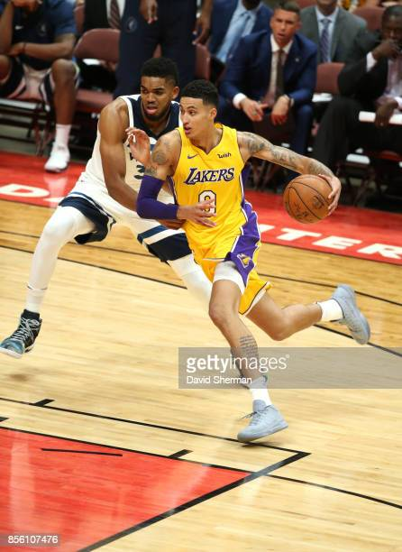 Kyle Kuzma of the Los Angeles Lakers handles the ball against the Minnesota Timberwolves during a preseason game on September 30 2017 at Honda Center...