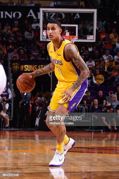 Kyle Kuzma of the Los Angeles Lakers handles the ball against the Phoenix Suns on October 20 2017 at Talking Stick Resort Arena in Phoenix Arizona...