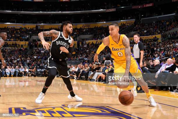 Kyle Kuzma of the Los Angeles Lakers handles the ball against the Brooklyn Nets on November 3 2017 at STAPLES Center in Los Angeles California NOTE...