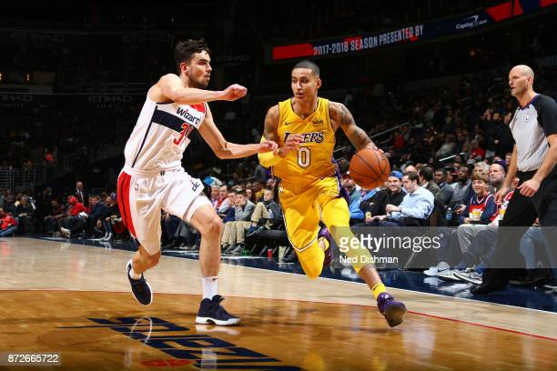 Kyle Kuzma of the Los Angeles Lakers handles the ball against the Washington Wizards on November 9 2017 at Capital One Arena in Washington DC NOTE TO...