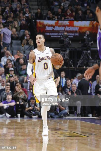 Kyle Kuzma of the Los Angeles Lakers handles the ball during the game against the Sacramento Kings on November 22 2017 at Golden 1 Center in...